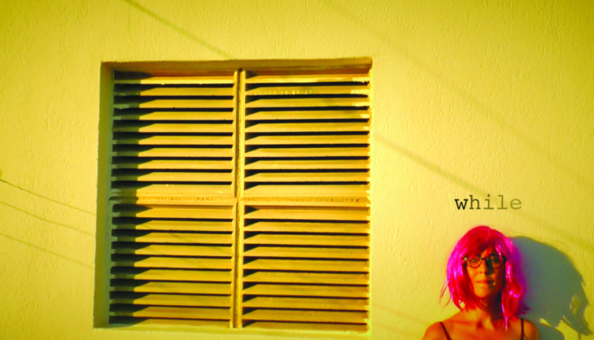 pink haired woman on a wall with an air filter. While space expands and gets cold.